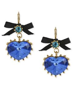 Betsey Johnson Gold-Tone Blue Crystal Heart Drop Earrings
