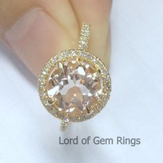 Halo 2.35ct Morganite .32ct Diamond Claw Prongs 14K Yellow Gold Engagement Ring