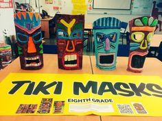Student Art Exhibit- Tiki Masks Eight Grade Art Project