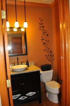 Pendant Lights Are A Cool Idea Sink And Cabinet Good Too Orange Bathroomsdream