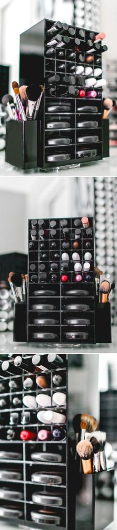 You know you want it! The Cadillac of make-up organizers. Holding 72 lipsticks and 16 powder compacts, 2 side compartments for brushes and made of heavy duty acrylic. This incredible case can house all your cosmetics, and since it spins, every single one is right at hand.