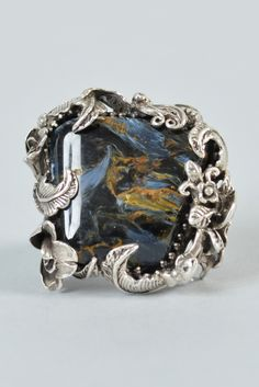 Bob Stringer Agatized Petrified Wood Sterling Silver Ring   From a unique collection of vintage fashion rings at https://www.1stdibs.com/jewelry/rings/fashion-rings/