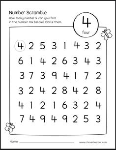 Number scramble activity worksheet for number 4 for preschool children number scramble for homeschools Preschool Activity Sheets, Preschool Learning Activities, Preschool Curriculum, Preschool Lessons, Preschool Math, Vocabulary Activities, Homeschool, Number Worksheets Kindergarten, Numbers Preschool