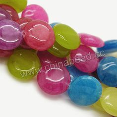 Gemstone Beads, Candy Jade, Mixed colors, Smooth puffy disc, Approx 10x5mm, Hole: Approx 1.2mm, 38pcs per strand, Sold by strands