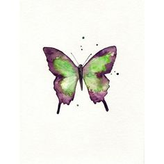 Butterfly/Dragonfly/Eggplant,Plum, Purple and Light Green/ Watercolor... ($35) ❤ liked on Polyvore featuring home, home decor, wall art, butterflies, animals, backgrounds, clip art, watercolor, watercolor painting and paper wall art