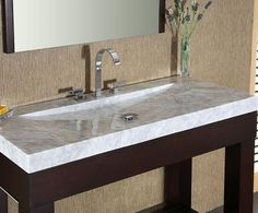 White Carrara Marble Stone Bathroom Vanity Top With Integrated Bowl From Xylem