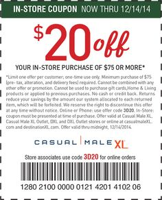 Visit Casual Male Xl And Use This Coupon Code To Take 50 Off Select Items