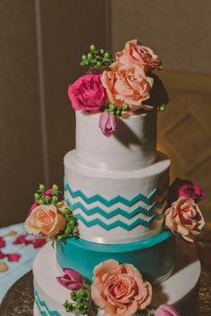 coral teal   chevron wedding cake   wigwam resort reception   phoenix, az