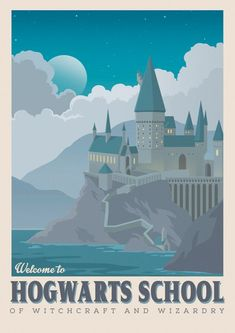 Harry Potter poster Hogwarts School art Retro travel poster image 2