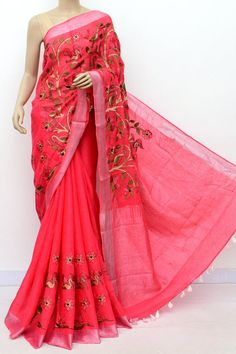 5d53bf8ebf6 Pink Color Lenin Textured Traditional Saree (With Blouse)16294 Anita Dongre