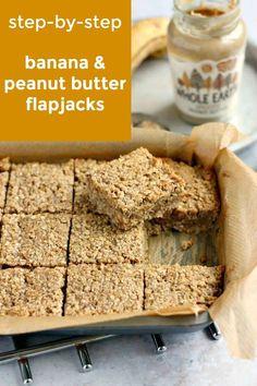 Banana Flapjack, Healthy Flapjack, Flapjack Recipe, Healthy Bars, Healthy Sweets, Healthy Baking, Healthy Food, Yummy Food, Peanut Butter Flapjacks