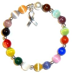 #sterling #silver-925 stretchy 18 colors packaged #cancer awareness bracelet-8mm