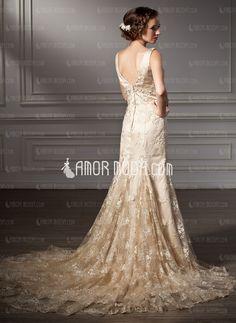 Mermaid V-neck Chapel Train Satin Lace Wedding Dress With Beadwork (002000116)