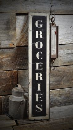 Vertical Groceries Sign - Rustic Hand Made Vintage Wooden Sign ENS1000346 #TheLiztonSignShop #RusticPrimitive