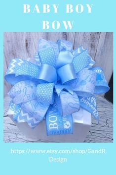 Perfect for a hospital door, mailbox, lamp post, or banister bow. This beautiful bow will welcome your new bundle of joy with the traditional baby boy theme. Welcome Home Decorations, Patriotic Decorations, Baby Shower Decorations, Baby Boy Themes, Nursery Themes, Hospital Door, New Baby Announcements, Baby Shower Gifts For Boys, Wreaths For Front Door