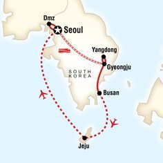 Map Of The Route For Best Of South Korea