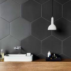 Hexagon grey & black porcelain tiles