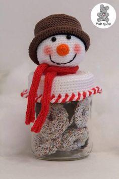 Similar Items Like Candy Jar Crochet On Etsy- - Places to visit Crochet Christmas Wreath, Crochet Christmas Decorations, Christmas Crochet Patterns, Christmas Knitting, Diy Christmas Ornaments, Bottle Cap Art, Mason Jar Crafts, Candy Jars, Crochet Crafts