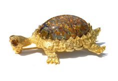 Turtle Brooch Jelly Belly Figural with Amber by RibbonsEdge, $16.56