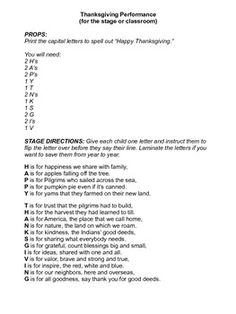 Thanksgiving poem to perform for an assembly. This acrostic poem has printable letters that you can use. Perfect for busy teachers who need a quick performance.   Printable letters spell out Thanksgiving.    See all my Holiday and special occasion performances for busy teachers. I'm uploading new ones frequently. Thank you!