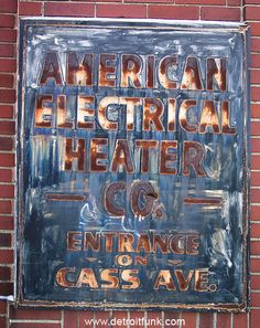 American Electrical Heater Co. was the original parent company of American Beauty Tools.  The building, where this sign is located, is in downtown Detroit on Woodward Ave. www.americanbeautytools.com