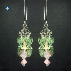 ♥ Elegant Green Pink Czech Glass Elements Plated Silver Earrings