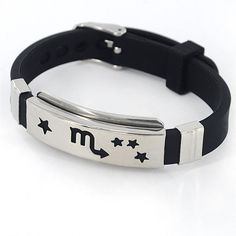 Scorpio Stainless Steel Constellation Leather Cuff Bangle