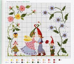 ru / Фото - Agenda 2010 - Mongia gnomes in the garden Cross Stitch Fairy, Cross Stitch Angels, Cross Stitch For Kids, Cross Stitch Flowers, Counted Cross Stitch Patterns, Cross Stitch Charts, Cross Stitch Designs, Baby Embroidery, Ribbon Embroidery