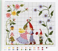 ru / Фото - Agenda 2010 - Mongia gnomes in the garden Cross Stitch Fairy, Cross Stitch Angels, Cross Stitch For Kids, Cross Stitch Flowers, Cross Stitch Charts, Counted Cross Stitch Patterns, Cross Stitch Designs, Baby Embroidery, Cross Stitch Embroidery