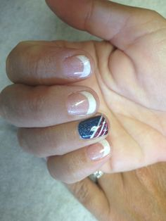 French with blue on accent nail with red and white stripes  Oasis Salon and Spa Mill Hall Pa (570)726-6565