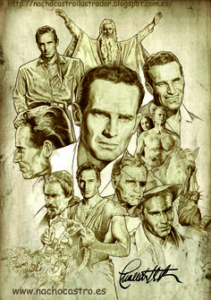 "Chalton Heston,illustration from the book ""Hombres de Hollywood"".Nacho Castro.Diábolo ediciones"