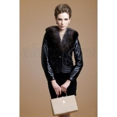 real sheepskin and mink fur stitched overcoat with fox fur collar, eyecatching and attractive overcoat