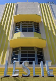 Art Deco Leslie Signage -- South Beach, Miami