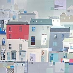 Sunny Padstow (LP53F) Coastal Print by Liz and Kate Pope http://www.thewhistlefish.com/product/lp53f-sunny-padstow-framed-art-print-by-liz-and-kate-pope