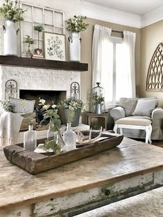 Looking for for pictures for farmhouse living room? Check this out for very best farmhouse living room images. This farmhouse living room ideas appears to be absolutely fantastic. Pottery Barn Shelves, Rustic Shelves, Pottery Barn Hacks, Pottery Barn Decorating, Pottery Barn Style, Window Decorating, My Living Room, Small Living, Coffee Table Decor Living Room
