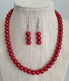 Red Pearl Necklace, Red Wedding, Bridesmaid Gift, Wedding Jewelry, Red Beaded Necklace, Bridesmaids Jewelry on Etsy, $24.00