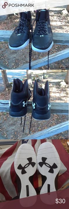 Under Armour Clutch Fit Men's Shoe's size 14 This is a used pair of Under Armour Clutch Fit Men's Shoe's size 14,they are black and white high top Shoe's,#1258143-011 Basketball Shoe's,there is scuff marks on both Shoe's,there are no holes or tears on either shoe,Please view the pictures and if you have any questions please ask. Under Armour Clutch Fit Shoes Sneakers