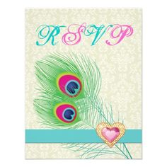 Peacock feather with jewel heart pink turquoise wedding RSVP card