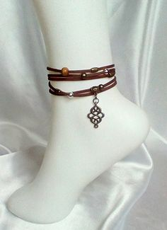 cdbcc0d3e5a230 Faux suede wrap cuff bracelet, anklet, necklace Tibetan charms, Boho style  brown suede jewellery versatile jewellery