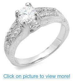 1.00 CT Platinum Plated Ladies Round Cubic Zirconia CZ Engagement Ring (Available in size 6, 7, 8) #CT #Platinum #Plated #Ladies #Round #Cubic #Zirconia #CZ #Engagement #Ring #Available #size