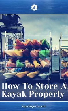 Whether it's indoors or outdoors, hanging or locking it up....you need to know the how to store a kayak. Read our guide that talks about looking after your kayak in storage to help it last longer… Best Fishing Kayak, Going Fishing, Backpacking Tips, Camping And Hiking, Diy Kayak Storage, Kayak Store, Kayak For Beginners, Kayak Equipment, Kayaking Tips