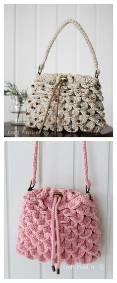 Crocodile Stitch Drawstring Purse Free Pattern