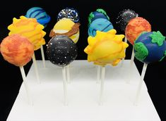 Excited to share this item from my #etsy shop: Planets, Solar System Cake Pops #partyfavors #solarsystem #earth #moon #sun Solar System Cake, Music Themed Cakes, Neon Cakes, Army Cake, Planet Cake, 18th Cake, White Cake Pops, Outer Space Party, Cake Pop Stands