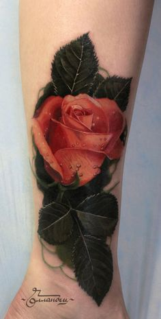 Realistic Rose Leg Tattoo