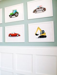 Print out photos of your child's favorite cars, trucks and construction equipment to create simple and fun decor for his bedroom.