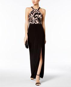R & M Richards Sequined Scroll Slit Gown | macys.com