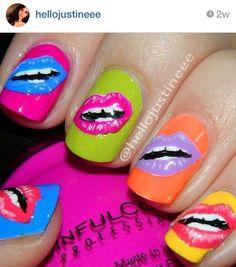 Pop art lips nails