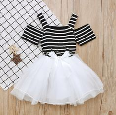 The Emily Party Dress Toddler Baby Girls Dress Strap Black and White Striped Off Shoulder Tutu Tulle Princess Dress Modern Black and White Tutu Tulle Baby Girls Summer. Baby Girl Party Dresses, Toddler Girl Dresses, Girls Dresses, Baby Girl Fashion, Kids Fashion, Fashion Clothes, Dress Clothes, Kids Frocks, Nice Dresses