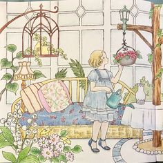 Green house with big windows, Dream Rooms coloring book by Chiaki Ida Colouring Pages, Coloring Books, Big Windows, Dream Rooms, Art Drawings, Vintage World Maps, Scenery, Romantic, Colours