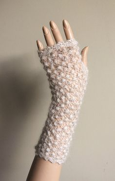 cream fingerless in mohair and silk by iveta67 on Etsy,